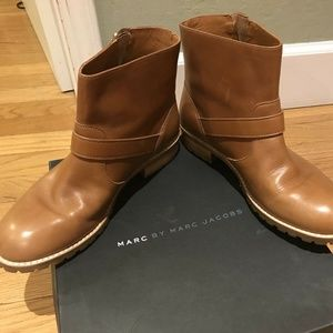 MARC JACOBS  Brown Leather Buckle Ankle boots